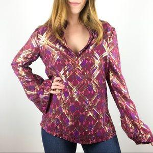 Tory Burch silk pink metallic printed blouse